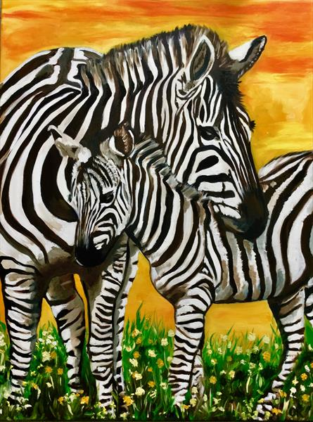 Zebras on the meadow  by Olga  Koval