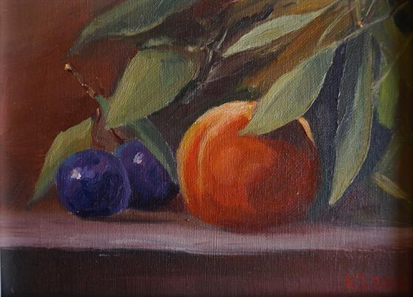Still Life with  plums by Sergej Karetnikov