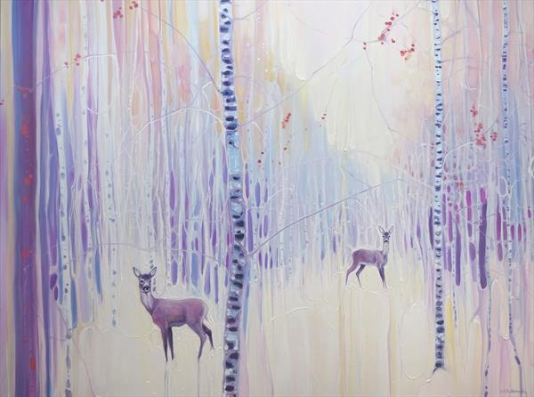 Spirits of Winter - Oil Painting with deer in snow by Gill Bustamante