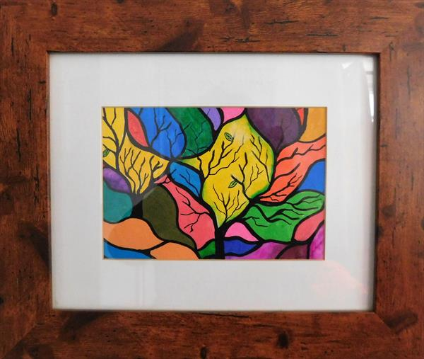 Colourful Blossom Tree FRAMED  by susan wooler