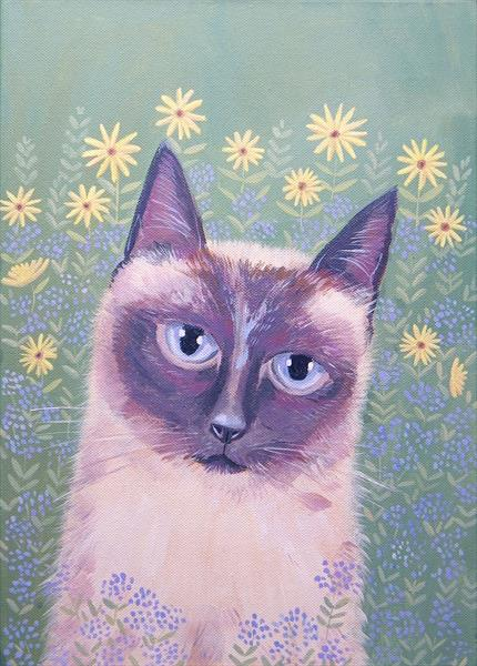 Siamese Cat in the garden by Mary Stubberfield