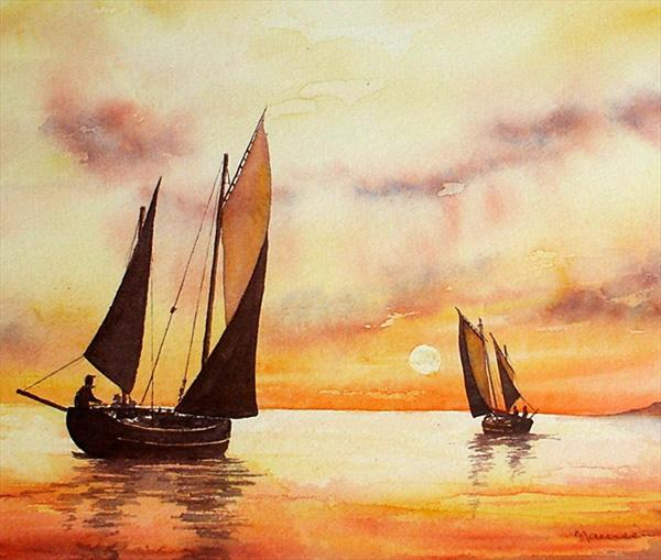 Sailing At Sunset by Maureen Crofts