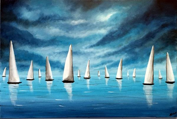 White Sails In The Blue Storm  by Aisha Haider