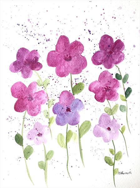 Pink and purple flowers by Monika Howarth