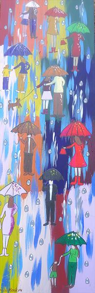Umbrellas in a Rainbow Sky 2 by Casimira Mostyn