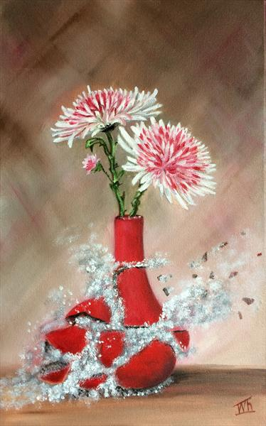 Stay, fleeting moment! You're divine! Still life  flowers in vase by Ira Whittaker