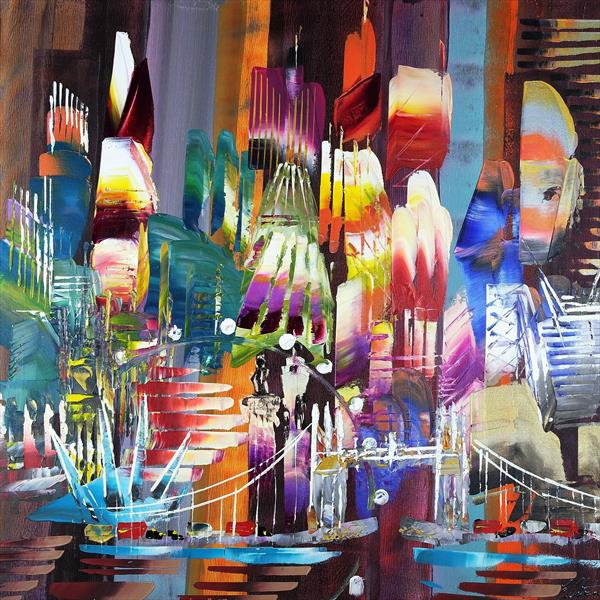 City of London Skyline Abstract Painting 820 by Eraclis Aristidou