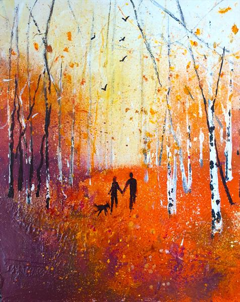 Walking through Autumn leaves by Teresa Tanner