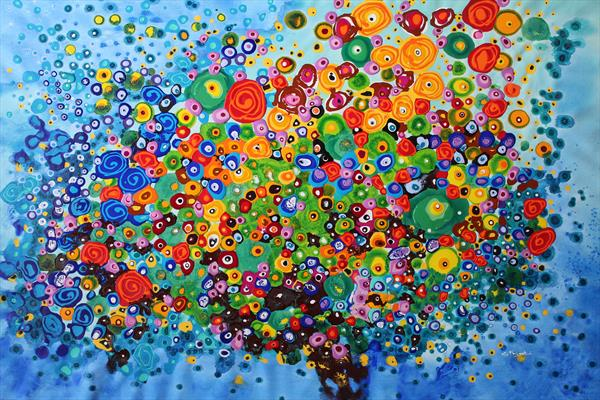 Murrina's Game #2 - Large original floral abstract painting by Cecilia Frigati