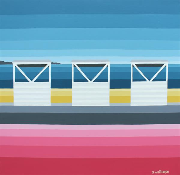 Three White Huts At Weymouth by Suzanne Whitmarsh