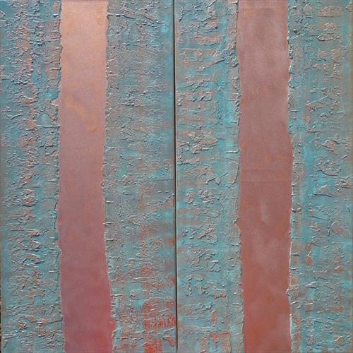 copper patina long textured painting abstract stripe A236 by Ksavera Art