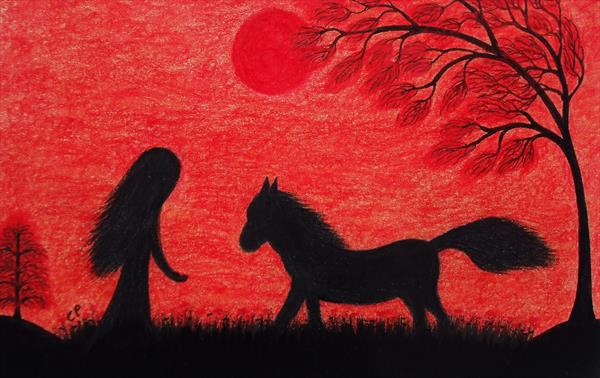 Horse and Girl Silhouette  (Framed) by Claudine Peronne