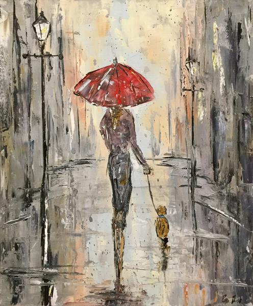 The lady with the red umbrella  by Pippa Buist