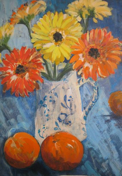 Orange and Yellow Gerberas by Jackie Shaw