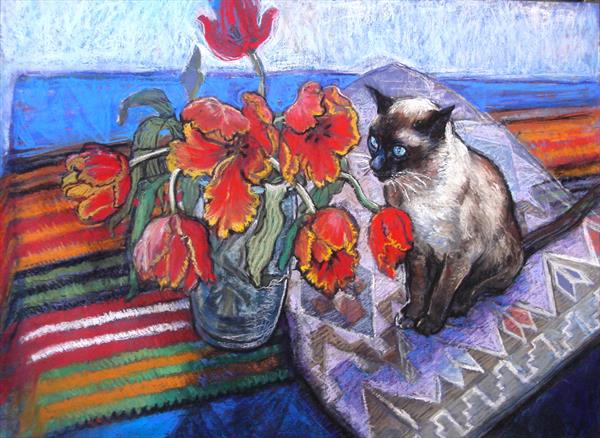 Still life with Bob the visitor by Patricia Clements