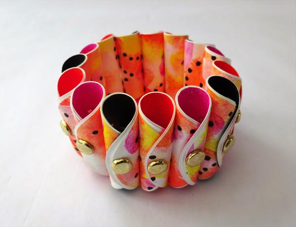 Painted Paper Bracelet  4 by Paula Horsley