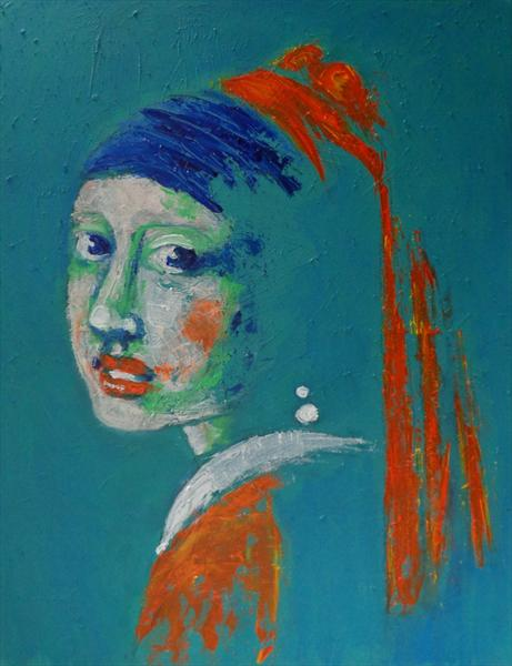 Girl With A Pearl Earring - Blue Portrait