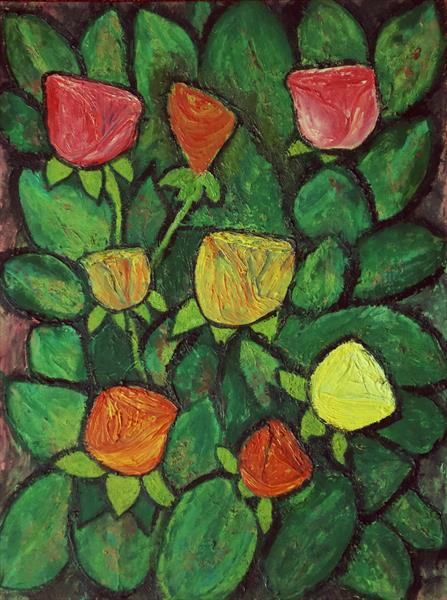 Roses in Foliage by George Hunter
