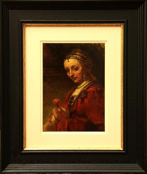 'Woman With A Pink' after Rembrandt by John Afflick