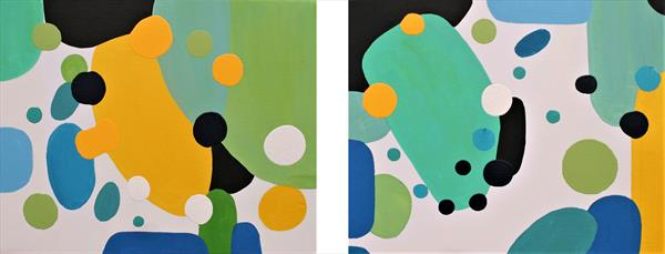 Morning Bird Song Diptych by susan wooler