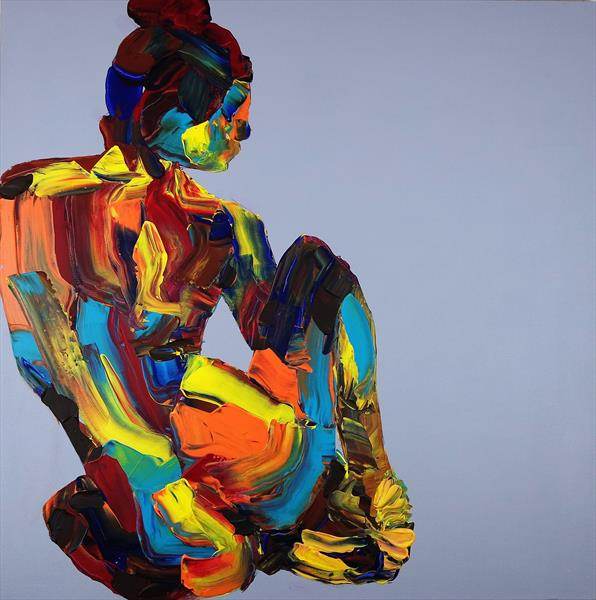 Yoga Nude in a Box Abstract 611 by Eraclis Aristidou
