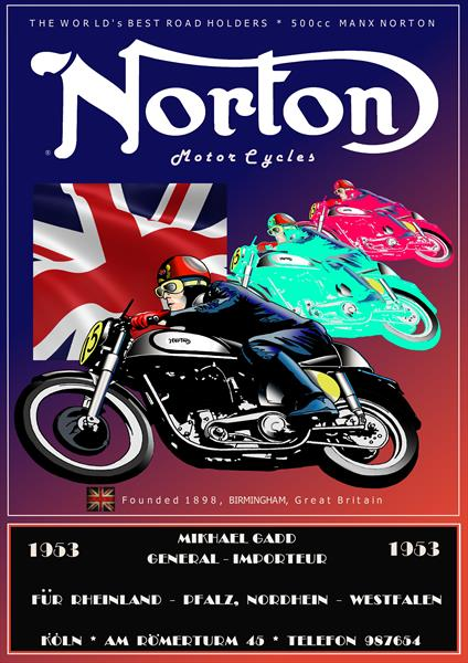 Norton motorcycle poster by Michael Gadd