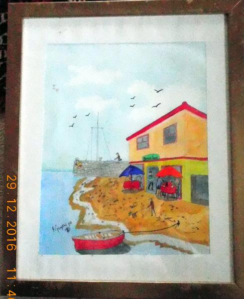 Cafe by the beach  (FRAMED) by Frank Crompton