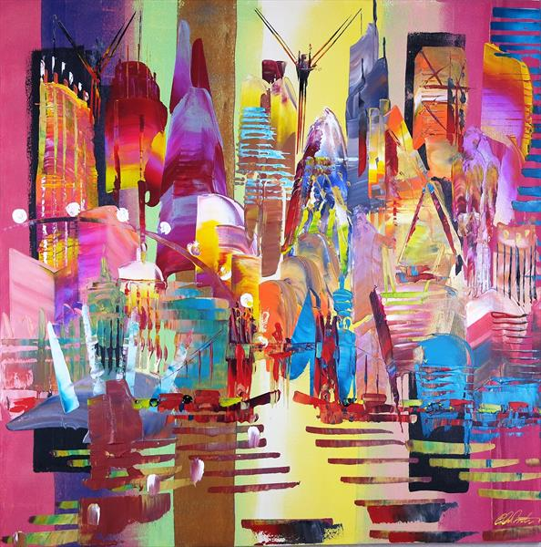 City of London Skyline Abstract Painting 805 by Eraclis Aristidou