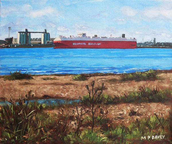 Southampton Cargo Ship As Seen At Weston Shore by Martin  Davey