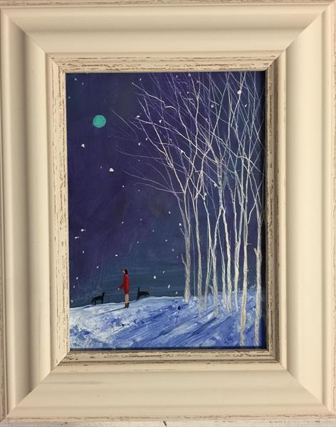 Snow is falling ( original framed oil ) by Sarah Gill
