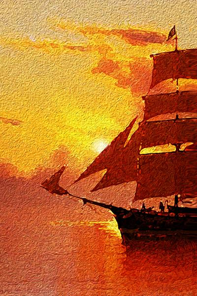 Red sails in the sunset by leslie garrett