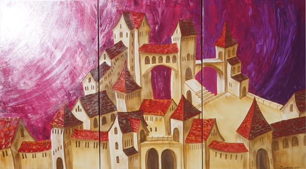 Surrealistic Old town in Italy 100x180x2 cm S48 Dolche Acqua palette knife Large painting purple by Ksavera Art