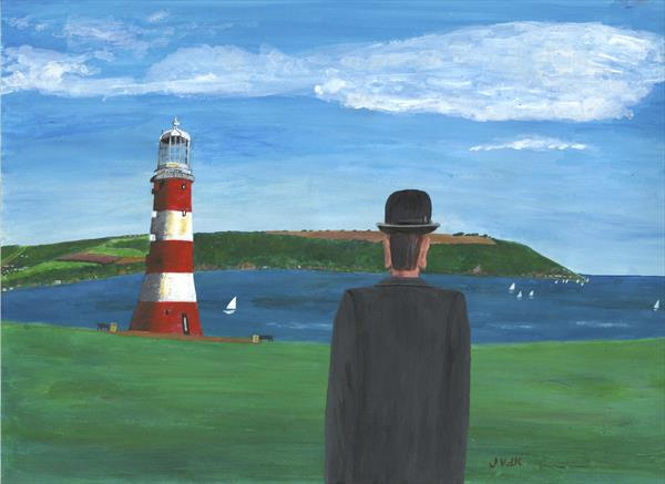 Magritte goes to Plymouth Hoe by John Van Der Kiste