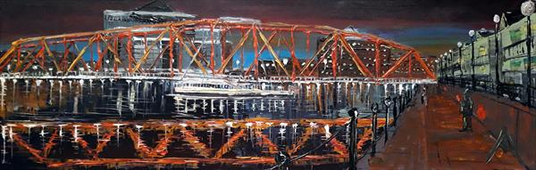 Salford Quays detroit bridge by night  by Andrew Alan Matthews