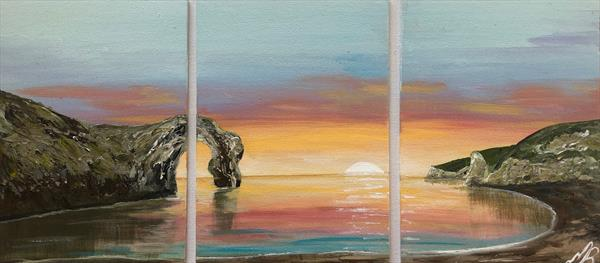 Small triptych of Durdle Door