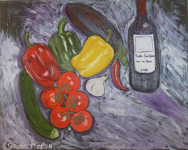 Still Life Vegetables and a Bottle of Wine by Casimira Mostyn