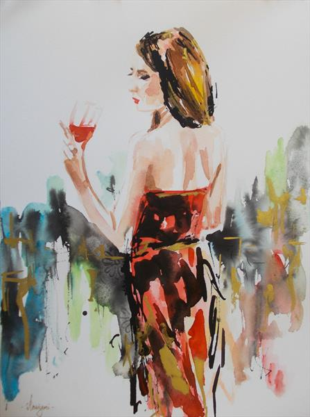 Red Wine-Woman painting on paper by Antigoni Tziora