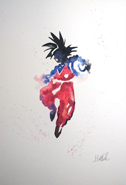 Goku Dragon Ball Z Watercolour Painting A4 by Matt Dale