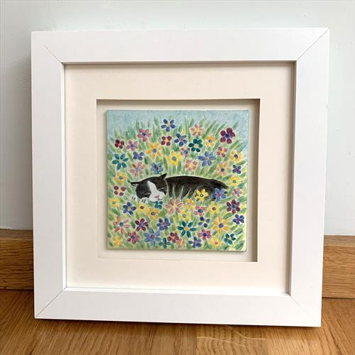 'Cat in flowers' Original Fired Glass Painting With Glass Enamel Paints. by Lisa-Marie Davies