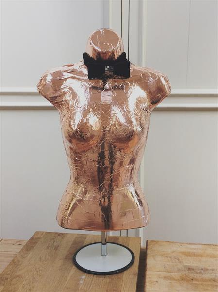 'Black Tie Affair' Copper overlay on Mannequin Sculpture by Maxine Martin