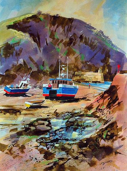 Low Tide, Port Isaac, Cornwall. by David Shiers