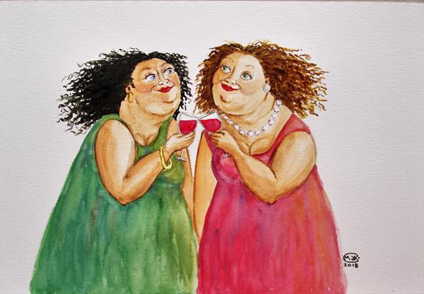 Wine and Women. Just one more. by Marjan's Art