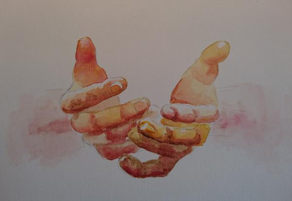 Hands study Winsor & Newton Professional Water Colour Oil & Acrylic painting board A3 Mother's Day E by Elena Haines