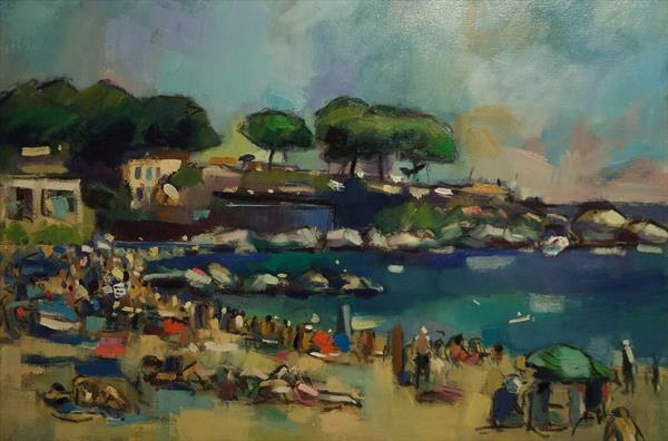 The Beach at Calella by Andre Pallat