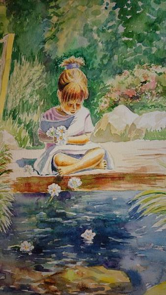 Little girl by the river with sunny summer day daisies by Elena Haines