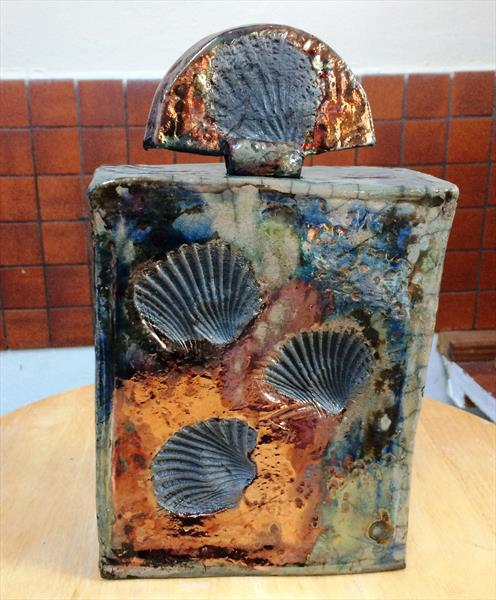 Clay Sculpture ~ Raku Shell Dream Jar ~Ceramic  by Maxine Martin