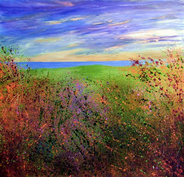 Clifftop View a Glimpse of the Sea-autumn by Roselind A'rt