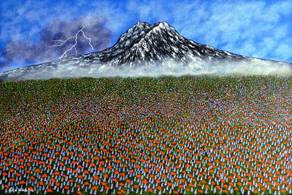 Before The Storm - mountain floral landscape by Liza Wheeler