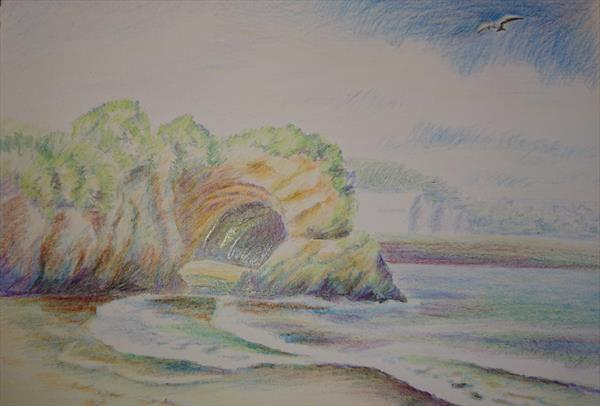 Summer seaside waves bird seagull above the rocks cave Newquay A5 colour pencils paper by Elena Haines