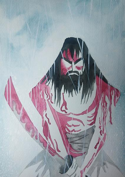 Samurai Jack Watercolour Painting A4 by Matt Dale